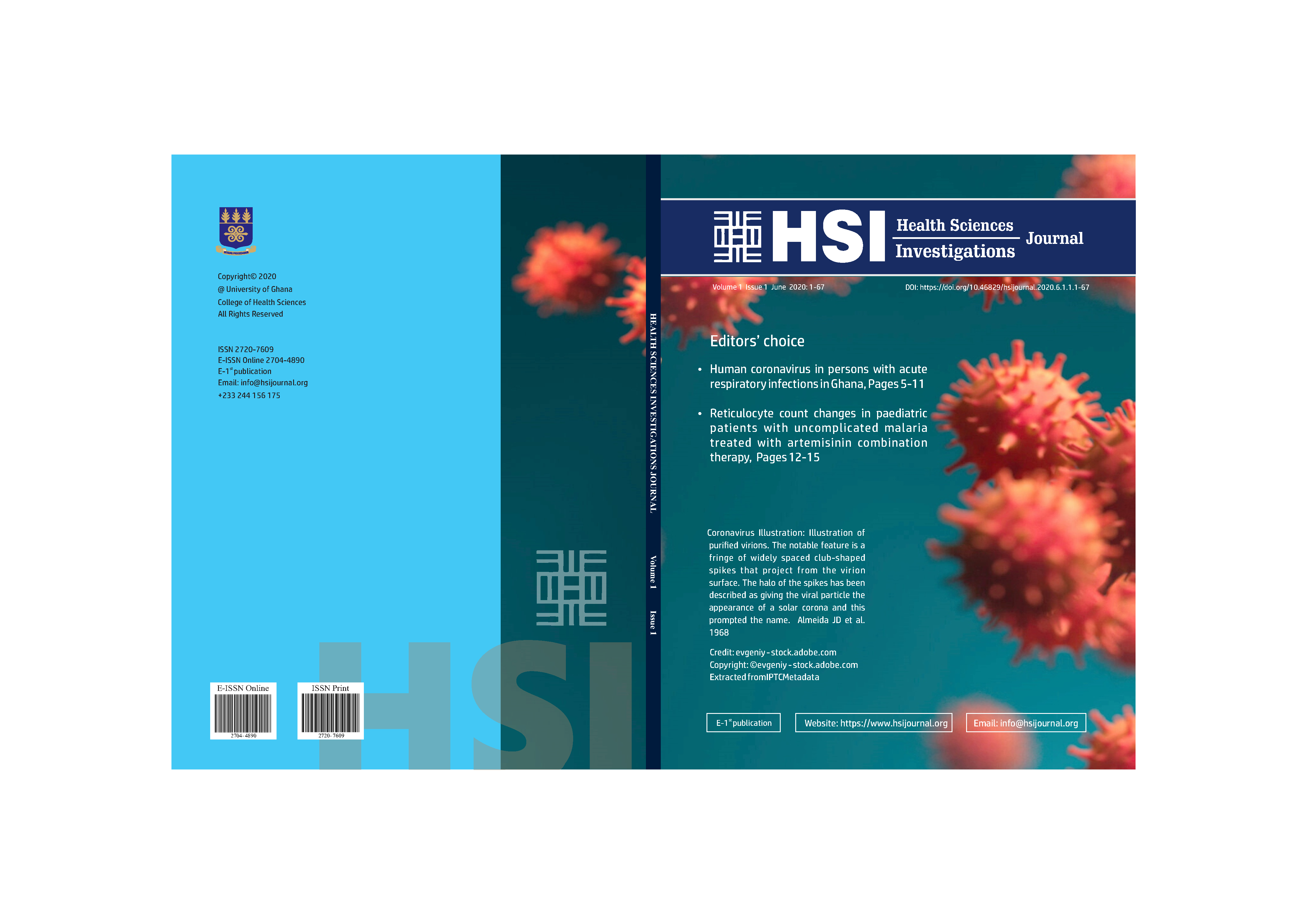 Front and back cover page, HSI Volume 1 Issue 1